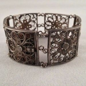 Art Deco Chinese Sterling Silver Square Filigree B